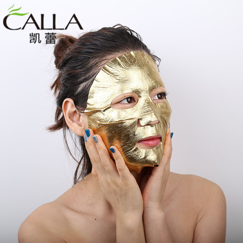 24k golden Leaf Facial Gold Paper Mask For OEM