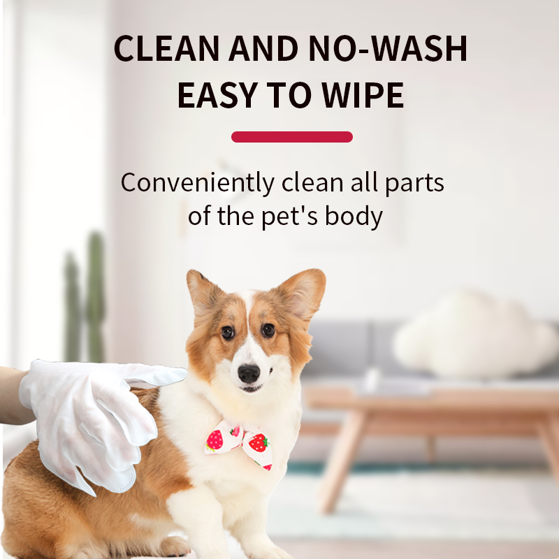 Hot Sale wash-free non woven household clean non irritating five finger dog cat wet wipes pet gloves