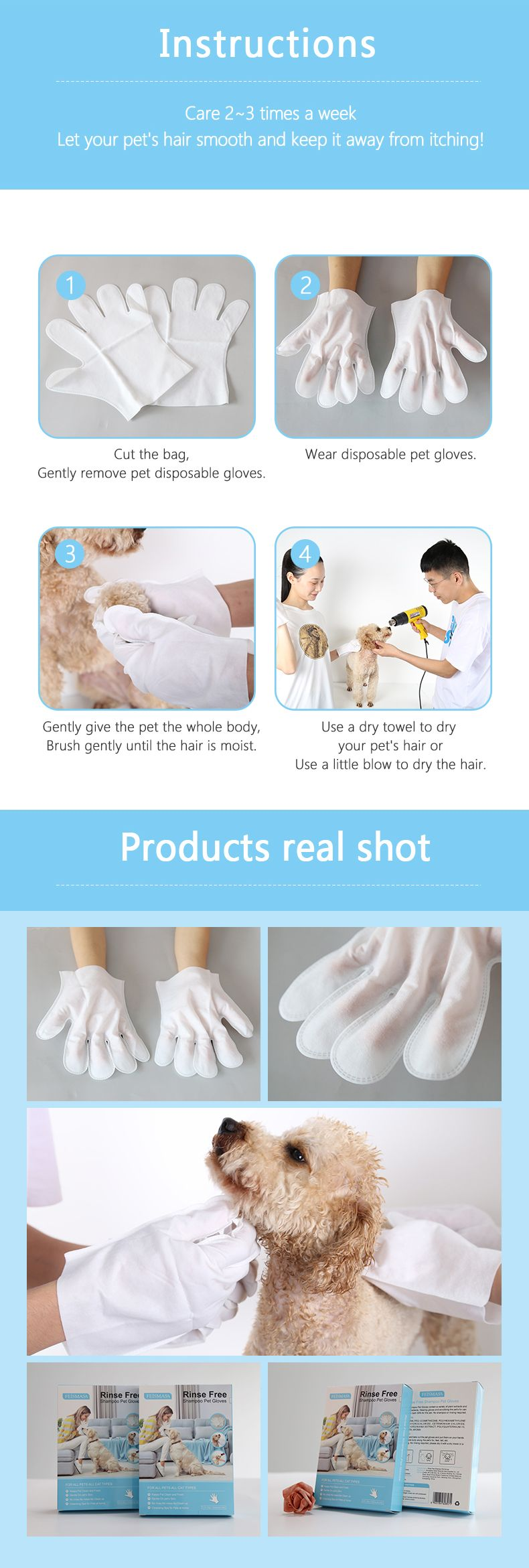 product-Direct Factory Supply wash-free non woven five finger household clean dog cat wet wipes pet