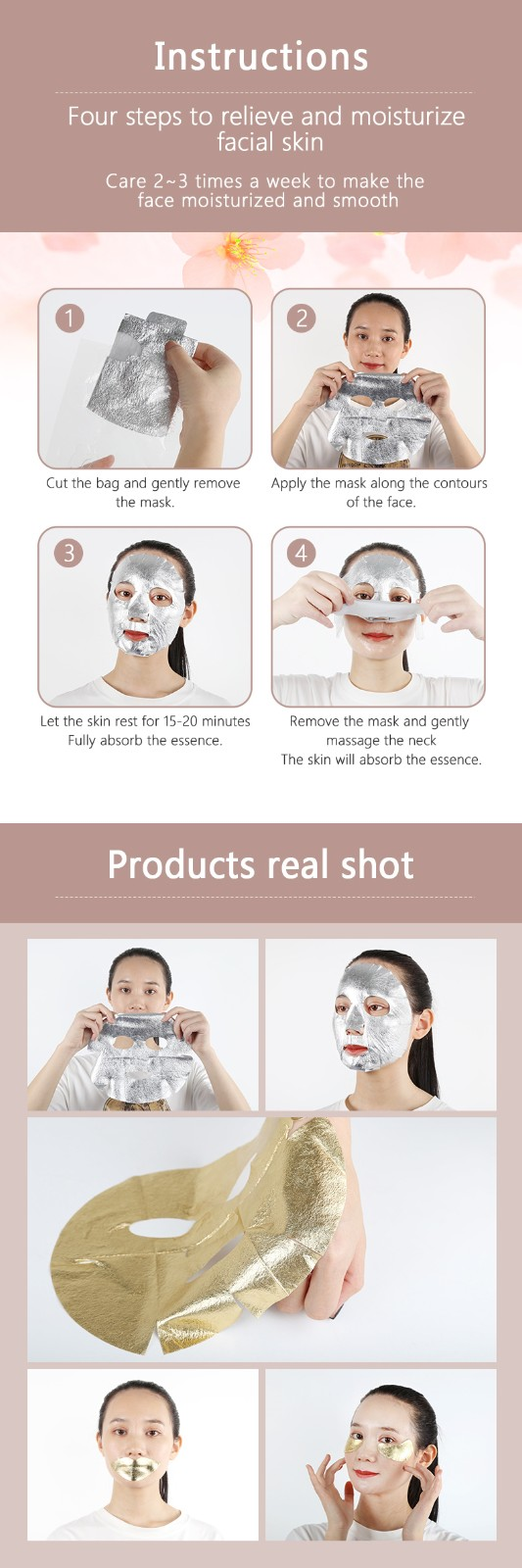 product-Silver Facial Mask Sheet Pure 24k Leaf Gold Foil Paper Moisturizing Whitening-Calla-img