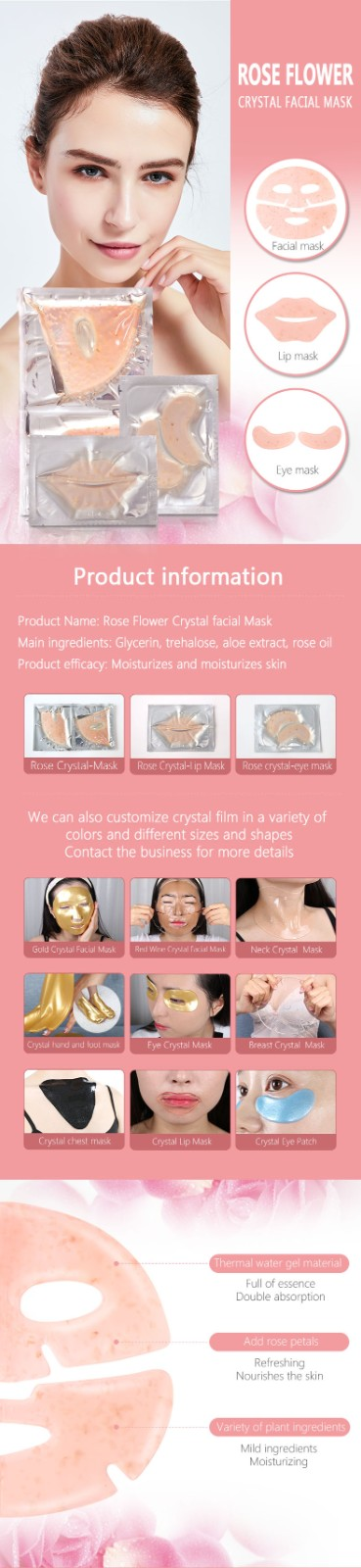 product-Facial Mask OEM Anti-wrinkle Tightening Collagen Cosmetic Crystal Hydrogel Hydrating Whiteni