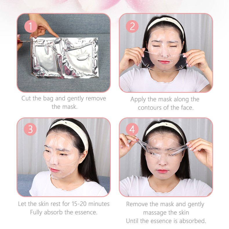 product-Pink Facial Mask OEM Tightening Anti-wrinkle Collagen Crystal Hydrogel Hydrating Whitening N